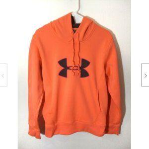 Under Armour Women Sz M Coral Orange Hoodie Fleece